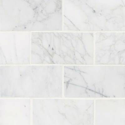 Calacatta Cressa Honed 3 X 6 Marble Subway Tile In White