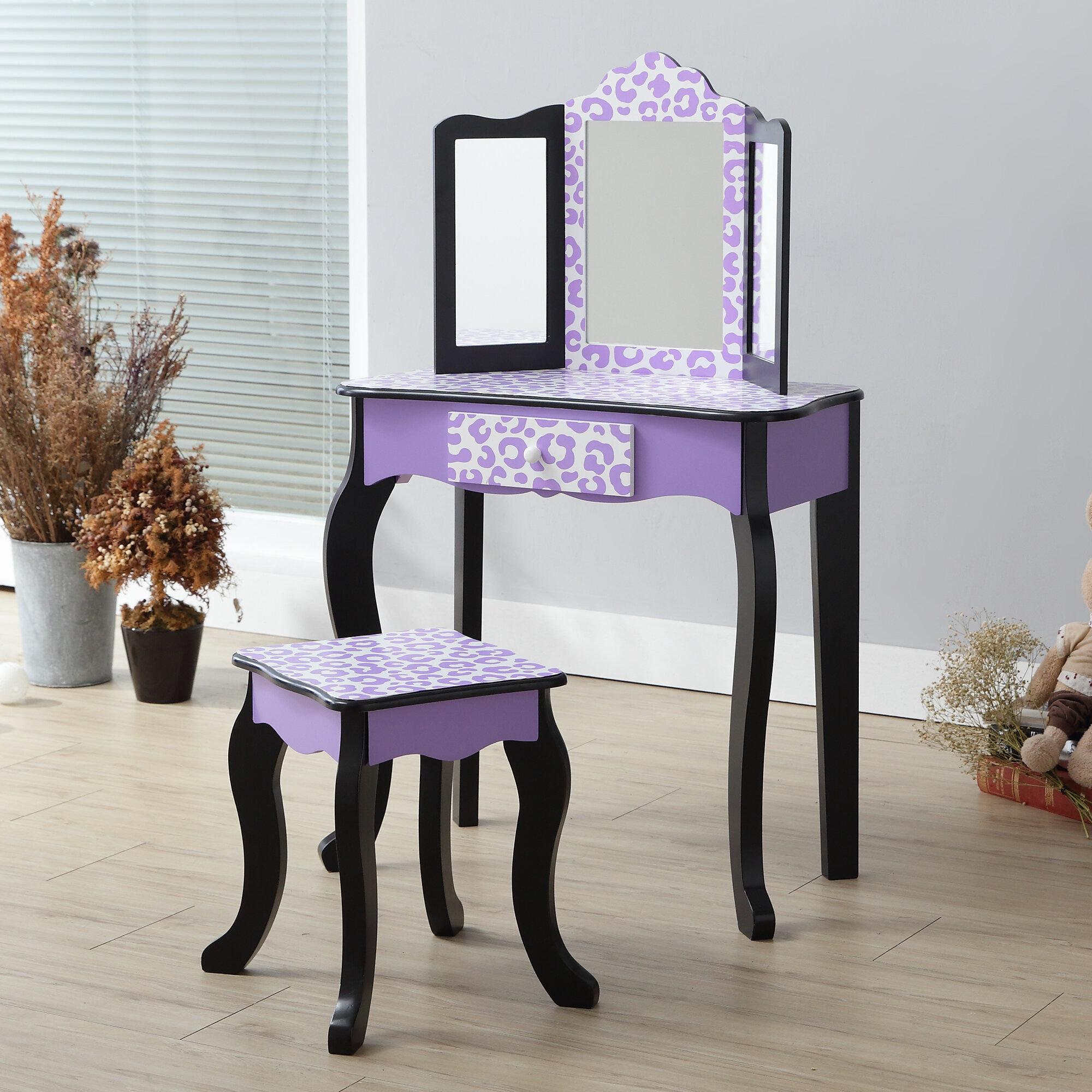 80157c41d20 Teamson kids fashion prints leopard dressing table set with mirror jpg  2000x2000 Leopard trim mirror