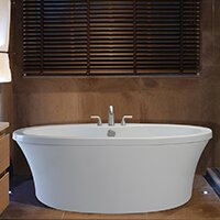 Center Drain Freestanding 66 X 36 75 Soaking Tub With Deck