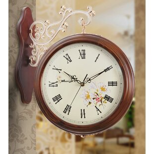 Vintage Wood Double Sided Hanging Wall Clock (Set of 2)