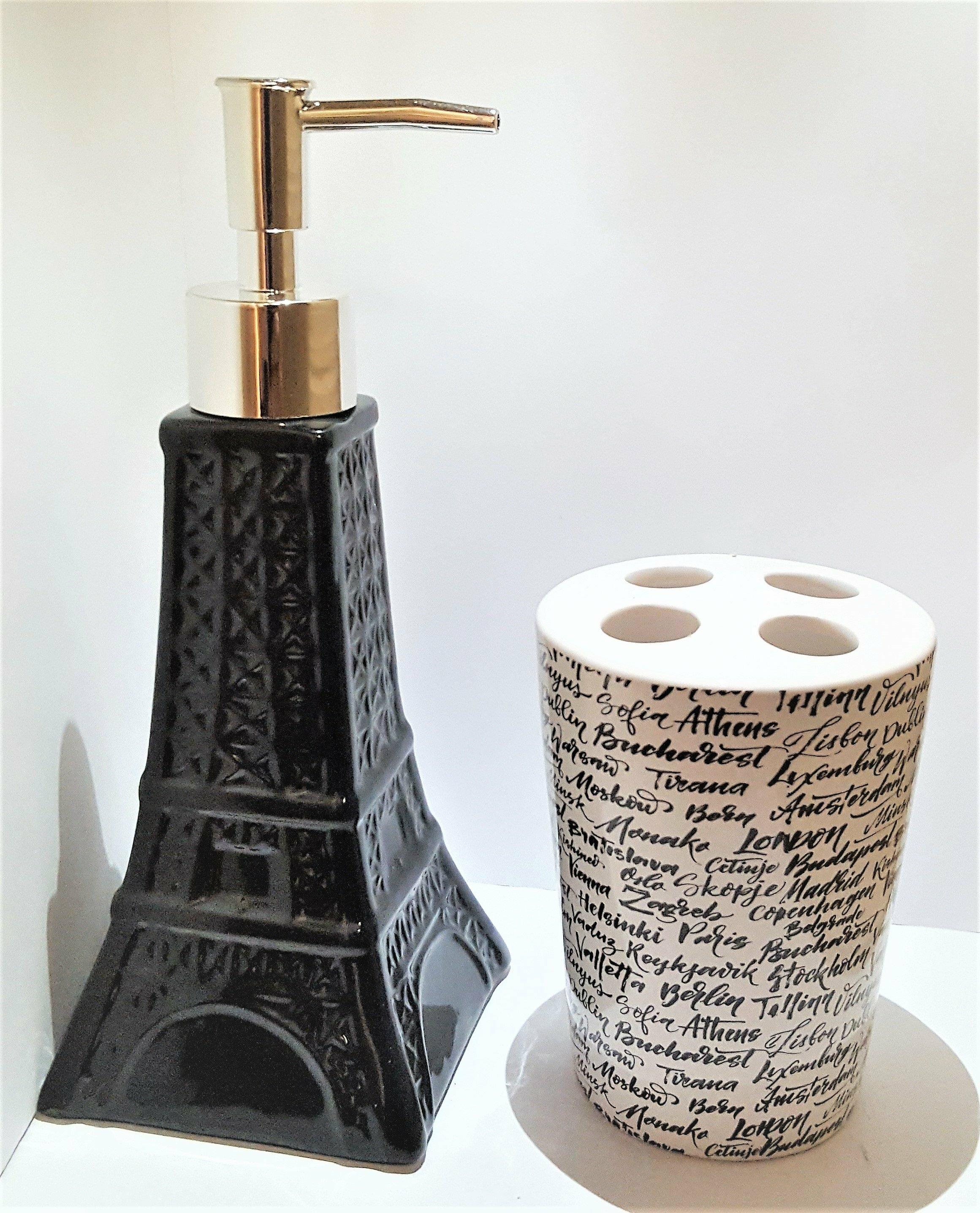 House Of Hampton Bridesdale Novelty Eiffel Tower Ceramic 2 Piece Bathroom Accessory Set Reviews Wayfair