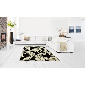 Floral Salt Pepper Black/White Area Rug