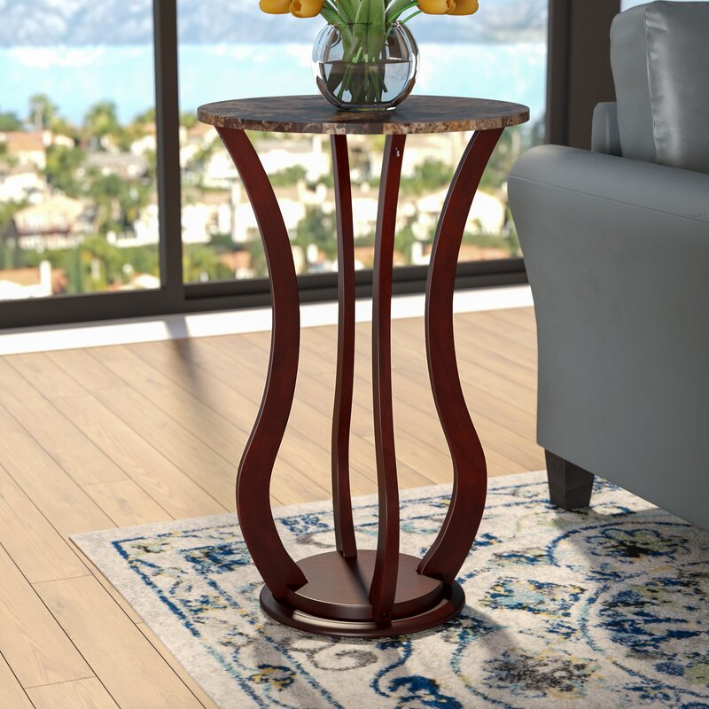 Charlton Home O Neil Faux Marble Top Pedestal Plant Stand