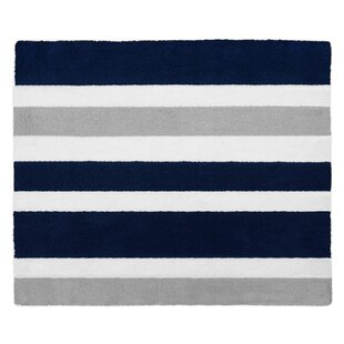 Stripe Hand Tufted Navy Blue / Gray Area Rug