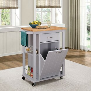 Kenedy Kitchen Cart with Wood Top