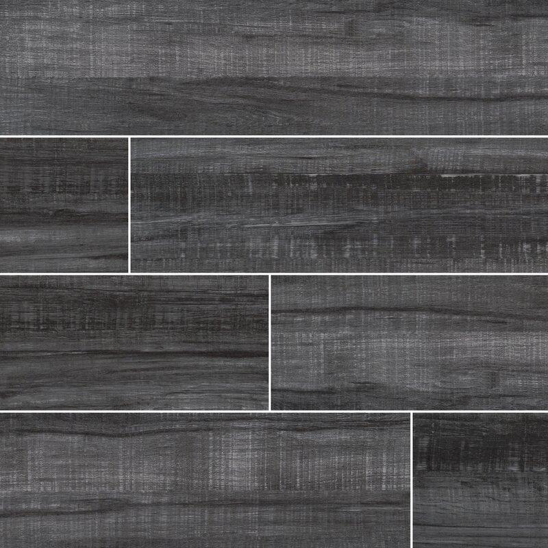 Belmond Obsidian 8 X 40 Ceramic Wood Look Tile In Black