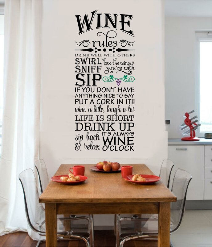 Wine Rules Vinyl Letters Words Home Kitchen Wall Decal