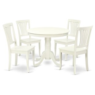 Korando 5 Piece Solid Wood Breakfast Nook Dining Set