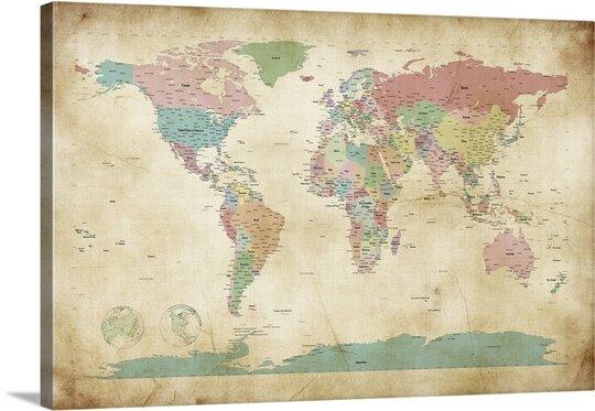 Large World Map Wall Art Wayfair