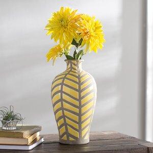 Miranda Yellow/Gray Ceramic Table Vase