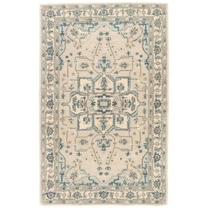 Victoire Hand-Tufted Taupe/Blue Area Rug