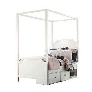 Jereme Canopy Panel Bed With Storage Drawer Unit Soft White