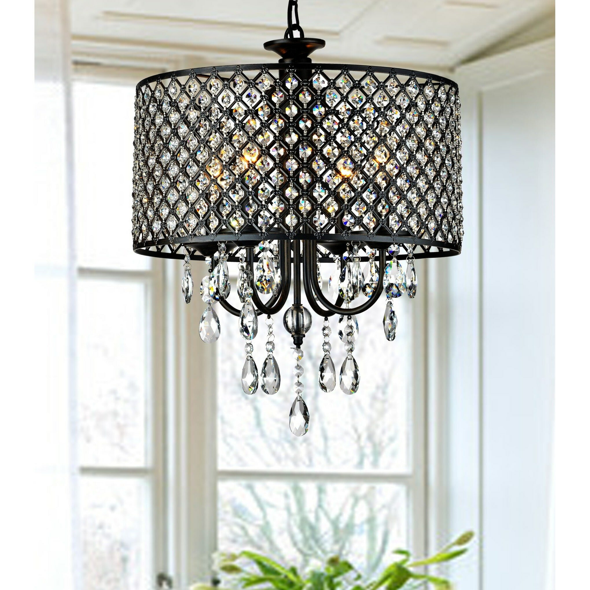 Mckamey round 4 light crystal chandelier