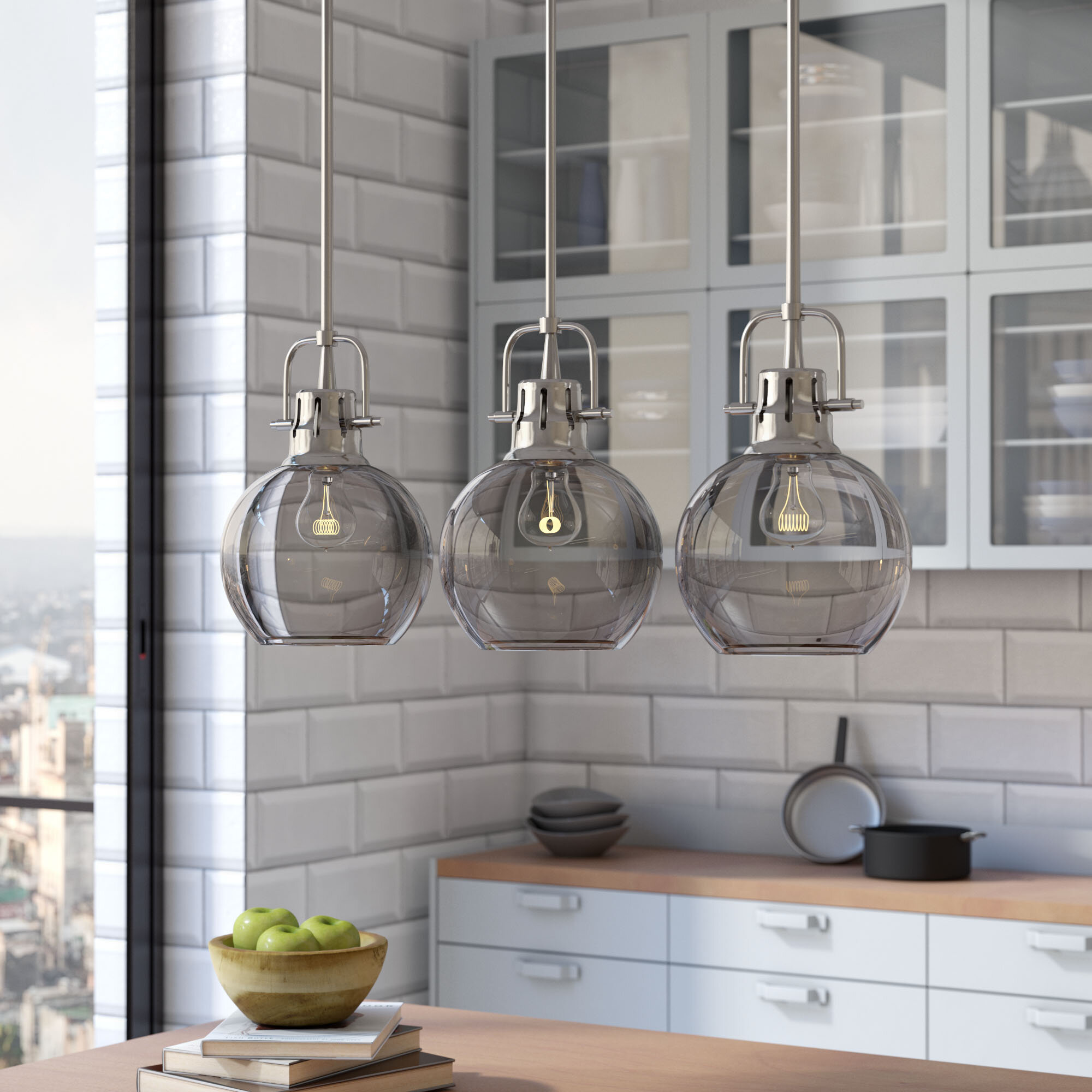 0166783b06f Brayden Studio Burner 3-Light Kitchen Island Pendant   Reviews