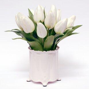 White Tulip Flower in Canister Vase & Faux White Flowers In Vase | Wayfair