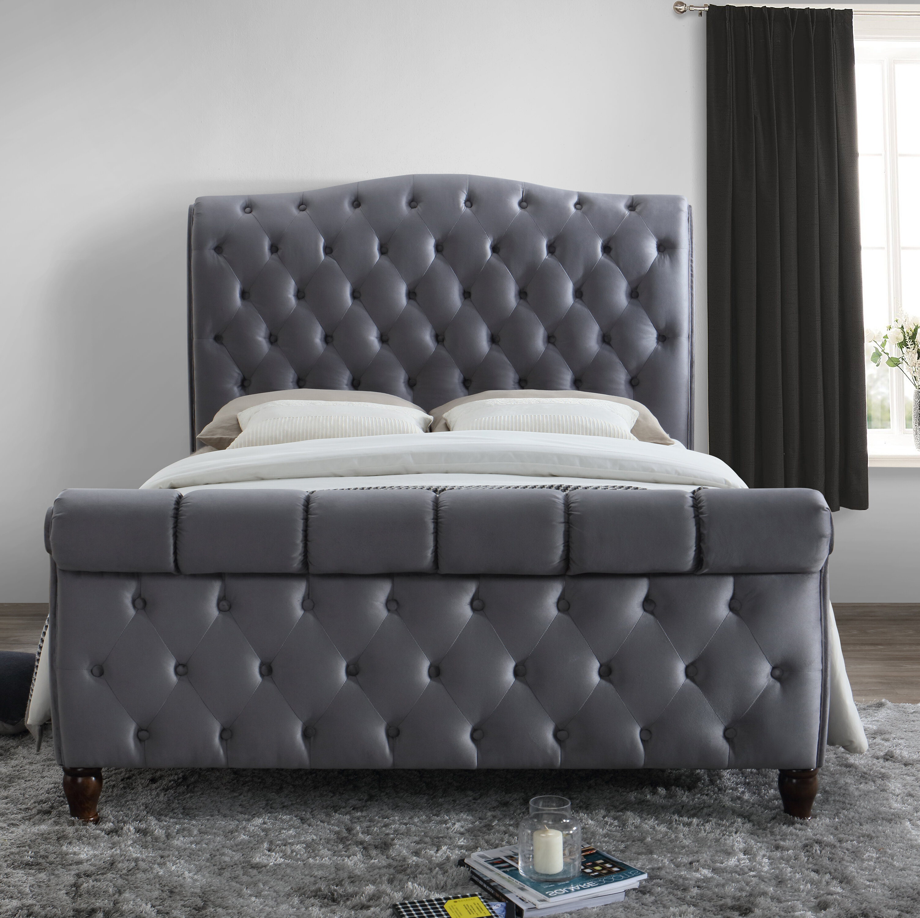 Upholstered Leather Sleigh Bed. Oxford Creek Queen Size Sleigh Bed ...