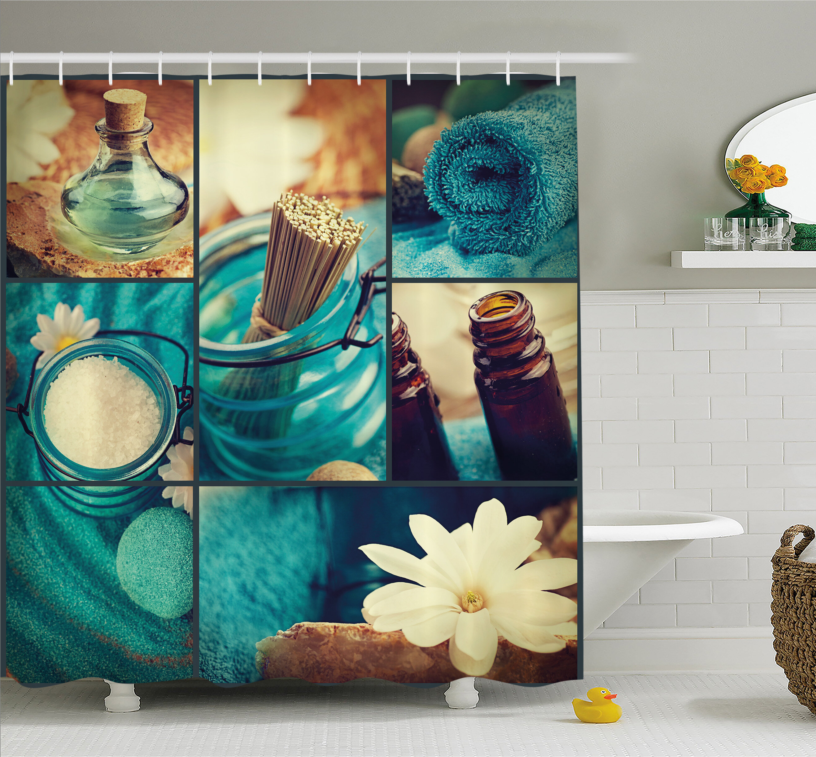 Ambesonne Spa Themed Daisies Scents Towels And Incense Artwork Collage Shower Curtain Set