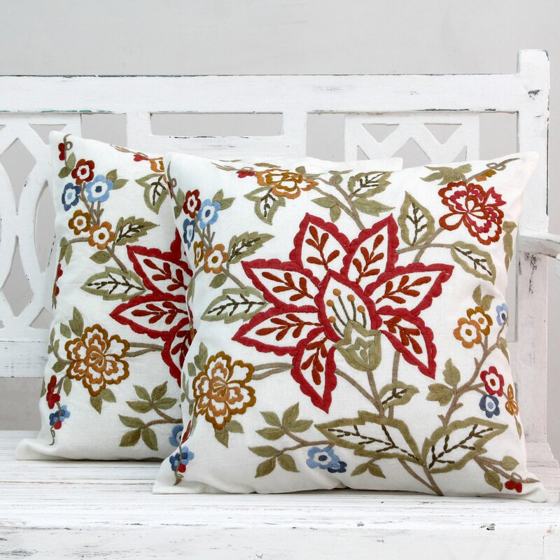 Seema Embroidered Square Cotton Throw Pillow Covers