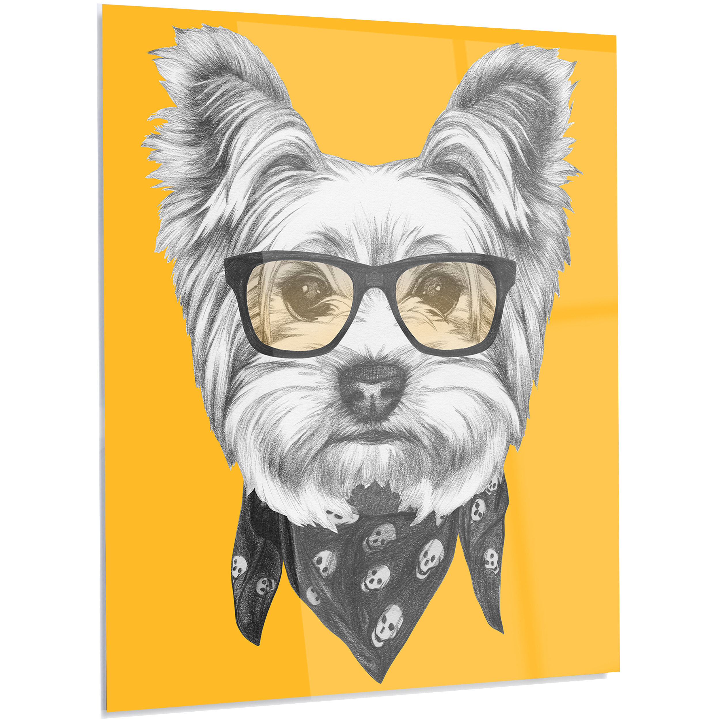 DesignArt \'Funny Terrier Dog with Glasses\' Graphic Art on Metal ...