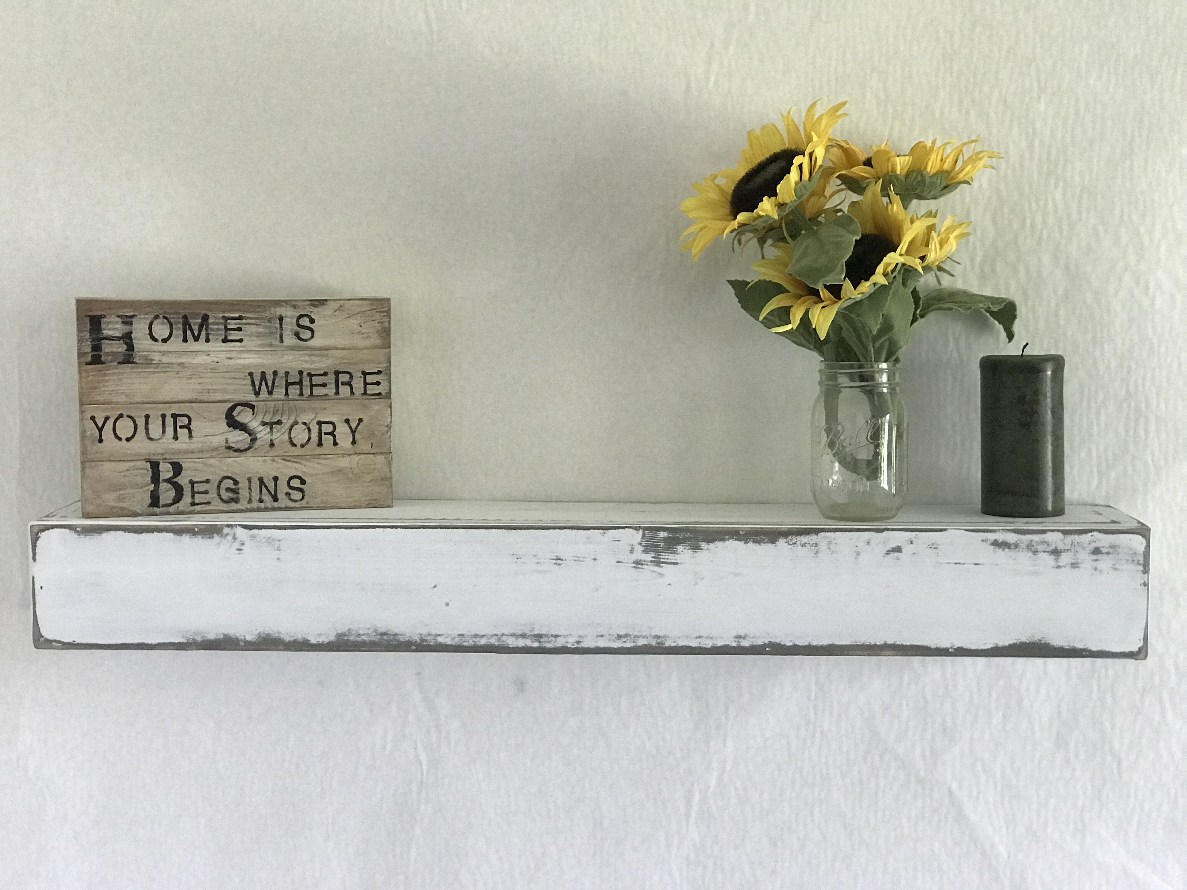 Es Hand Crafted Wood Products Reclaimed Distressed Floating Shelf Reviews Wayfair