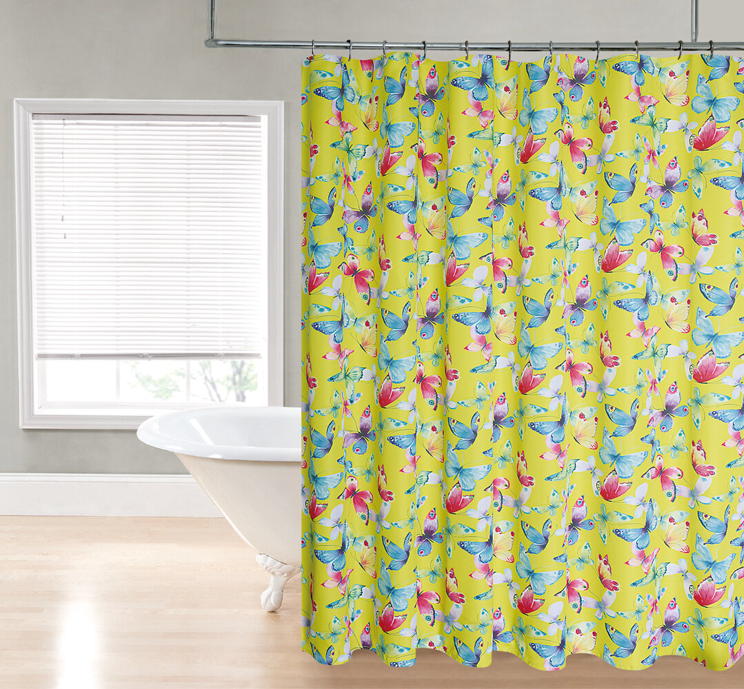 The Final Grab Inc Butterfly Fabric Shower Curtain