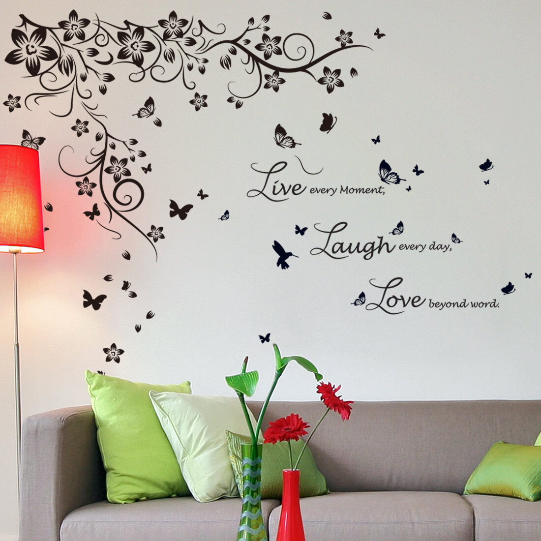 Walplus New Huge Butterfly Vine And Live Laugh Love Wall Decal