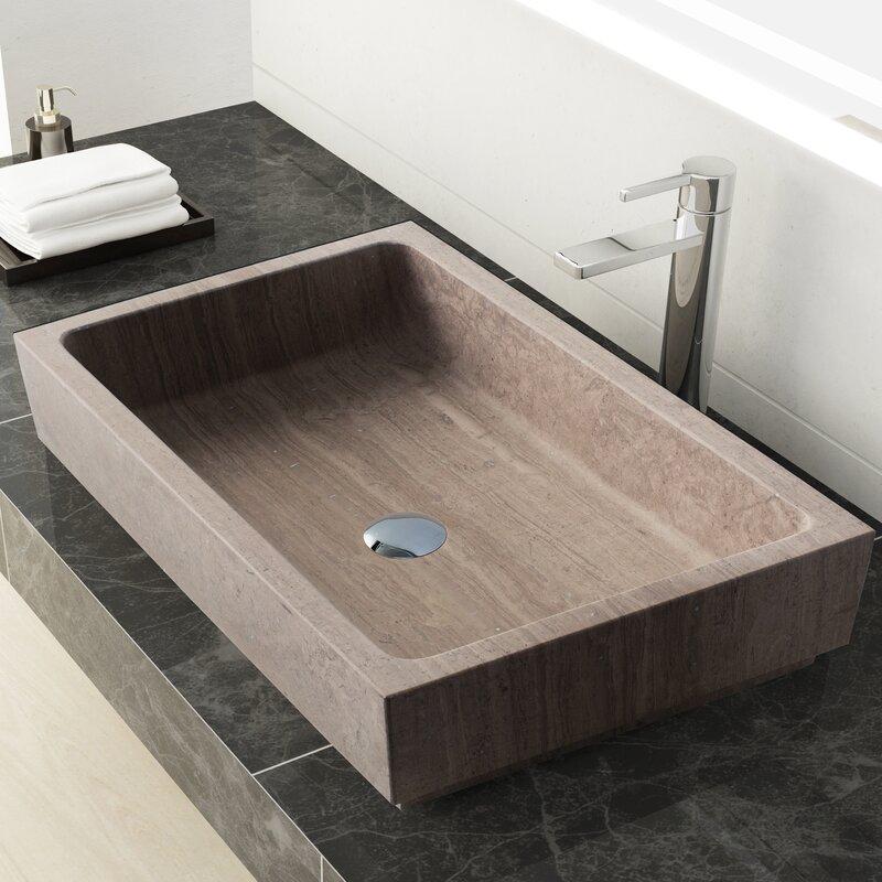 Lehi Stone Rectangular Vessel Bathroom Sink