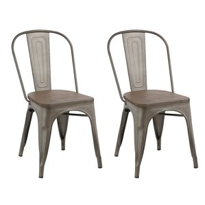 Industrial Metal Solid Wood Dining Chair (Set of 2) by Famis Corp