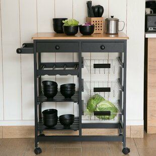 Kitchen Cart With Wood Top Design