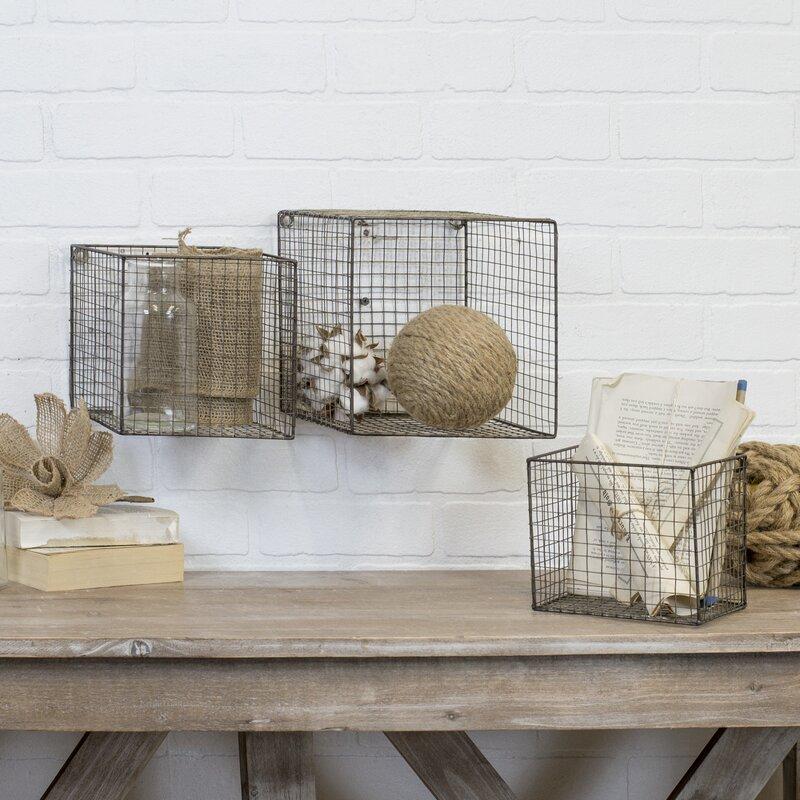 Williston Forge Grossman Wire Cube 3 Piece Wall Basket Set | Wayfair