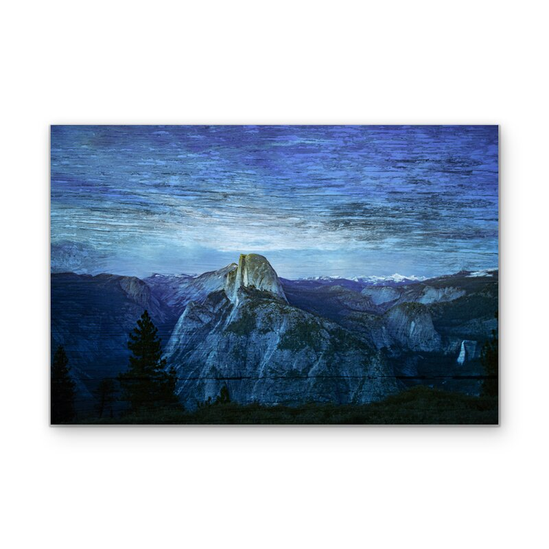 Blue Mountain Range Fused Graphic Art Print On Wood