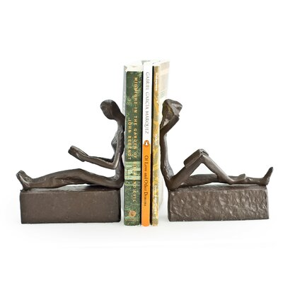 Red Barrel Studio Alta Man and Woman Reading Metal Bookends