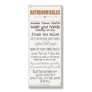 Bathroom Rules bathroom rules wall art | wayfair
