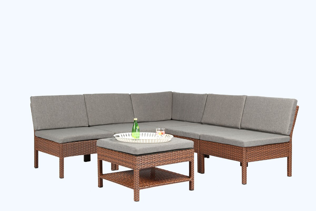 Maryann Complete Patio Garden 6 Piece Sectional Set With Cushions