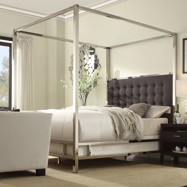 Canpoy Bed mercer41™ upholstered canopy bed & reviews | wayfair