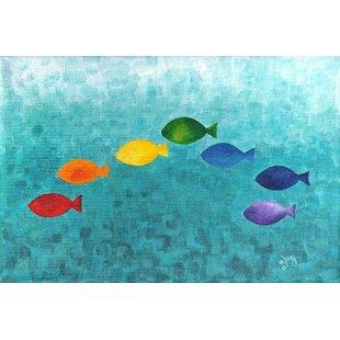 Rainbow Fish by Nicola Joyner Painting Print Canvas Art by East Urban Home
