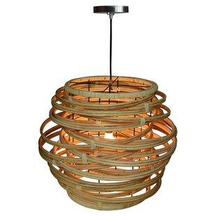 Woven rattan pendant light wayfair oceola rattan 1 light geometric pendant aloadofball Gallery