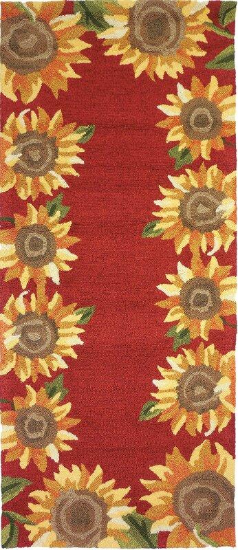 August Grove Valois Sunflower Field Red Yellow Indoor