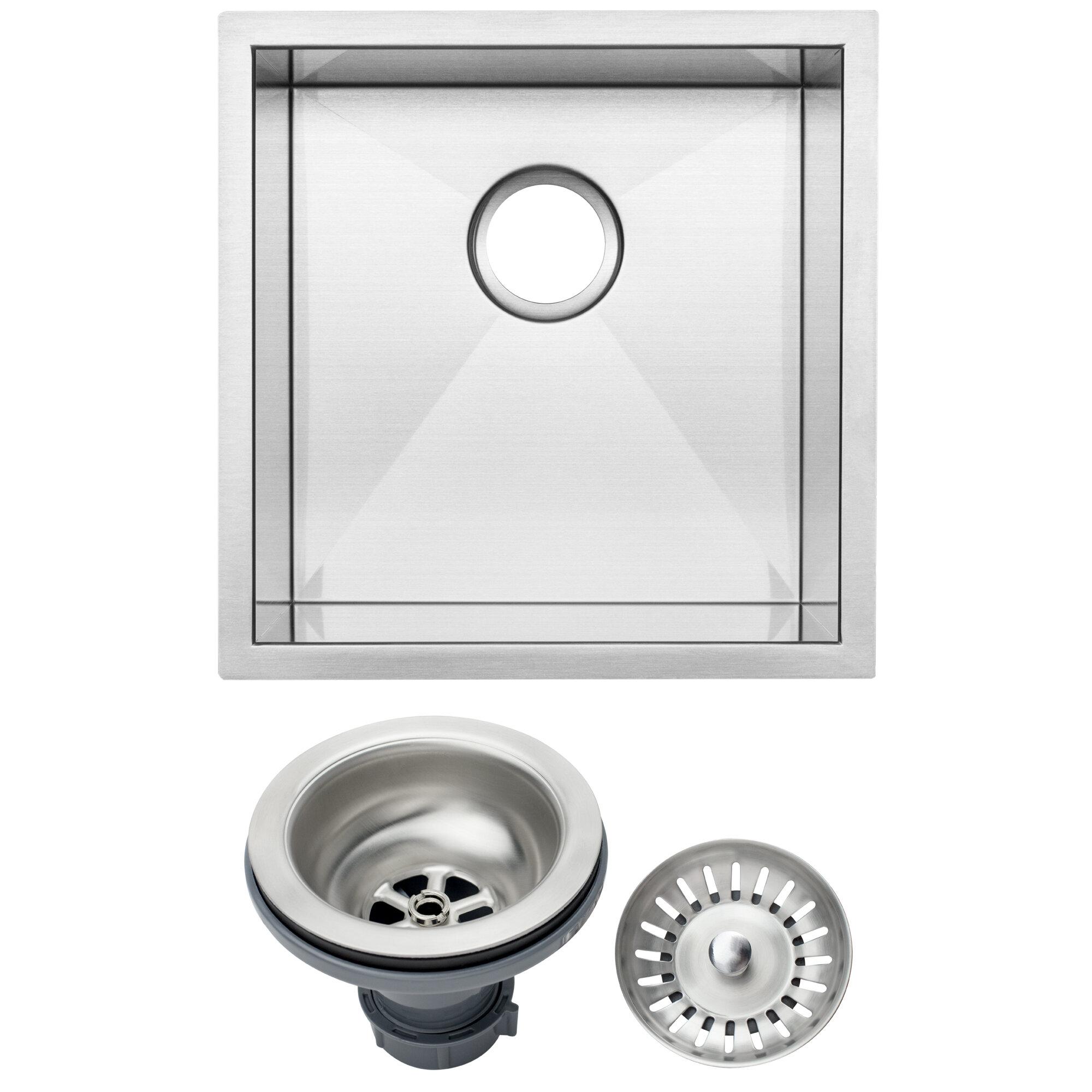 "S3640BG-DEL Ticor 17-1/4"" L X 17-1/2"" W Inch Zero Radius 16 Gauge Stainless Steel Single Bowl Square Undermount Kitchen Bar Sink"
