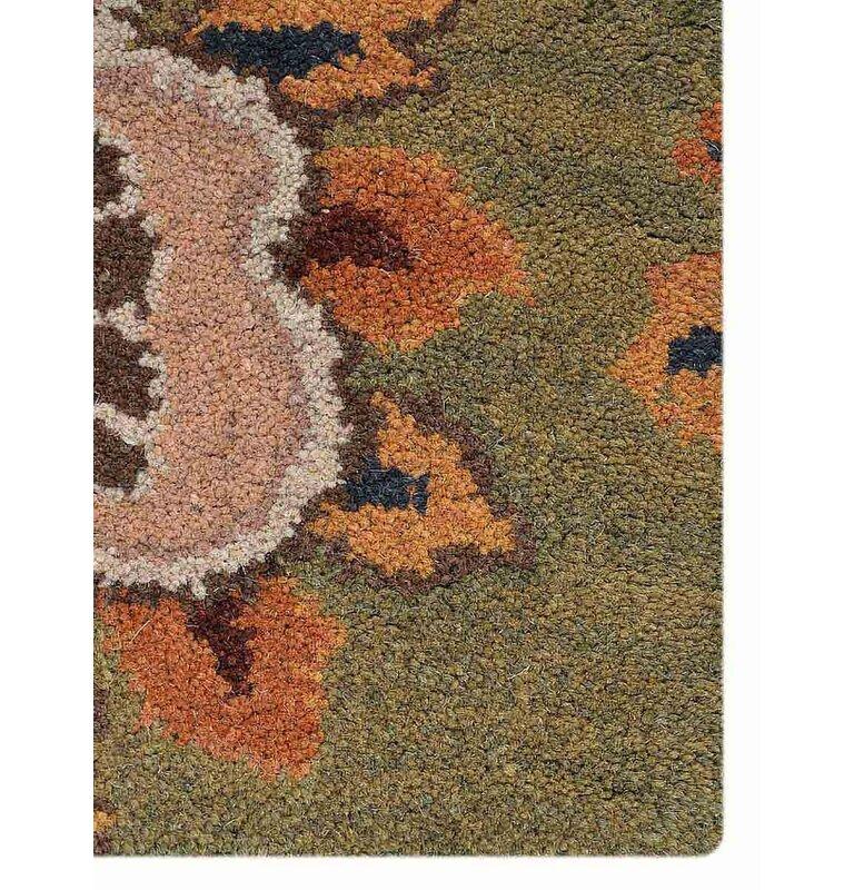 Three Posts Mcknight Floral Hand Tufted Wool Greenbrownorange Area