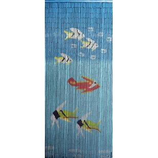 Fishes Graphic Print U0026 Text Semi Sheer Single Curtain Panel