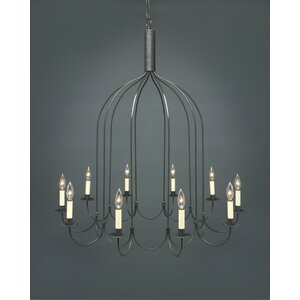 Sockets J-Arms Hanging 10-Light Candle-Style Chandelier