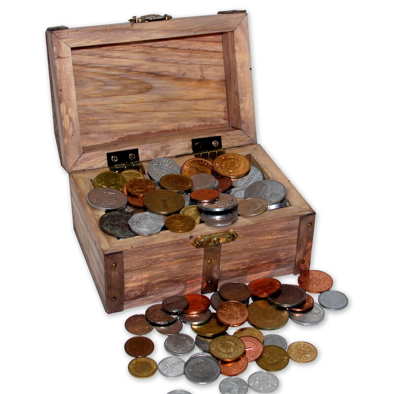 Audane Treasure Chest of 100 Coins from Around the World in Decorative Box