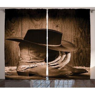 Western Wild West Themed Cowboy Hat And Old Ranching Rope On Wooden Display Rodeo Style Graphic Print Text Semi Sheer Rod Pocket Curtain Panels Set Of 2