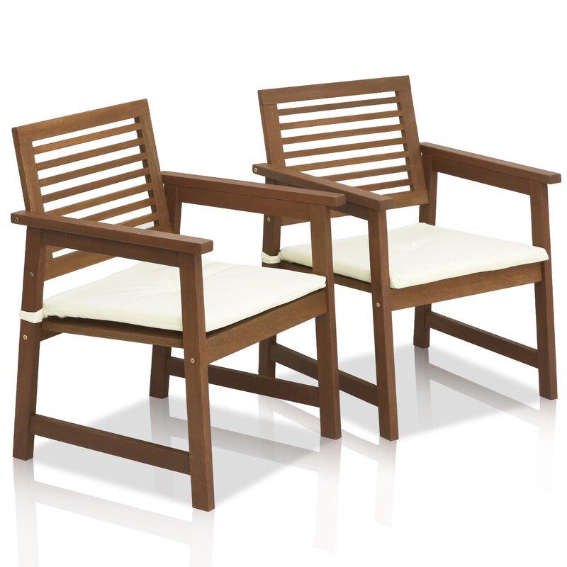 Arianna Teak Hardwood Outdoor Chair With Cushion (Set Of 2) Part 54