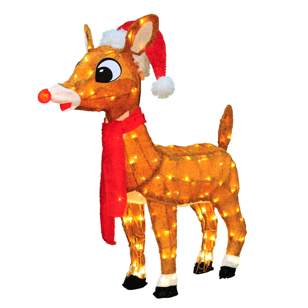 product works soft tinsel rudolph the red nosed reindeer christmas decoration with lights with lights wayfair