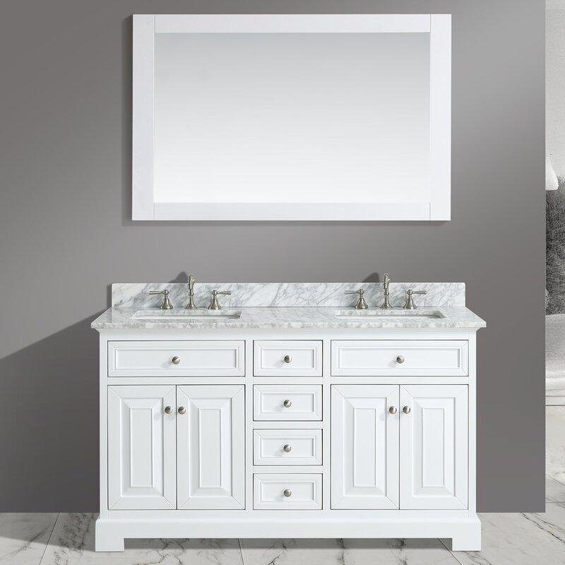 Rochelle 60  Double Bathroom Sink Vanity Set with Mirror Urban Furnishings