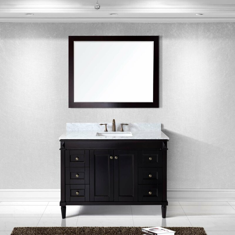 Virtu USA Tiffany Single Bathroom Vanity Set With White Marble - Bathroom vanities marble top