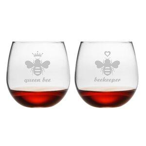 2 Piece Hive 16.75 Oz. Stemless Wine Glass Set