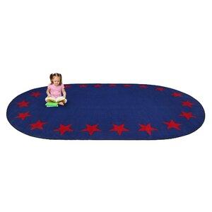 Blue Star Border Classroom Area Rug